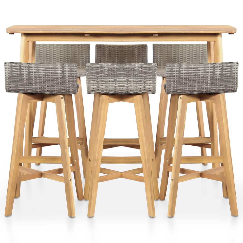 7 Piece Outdoor Dining Set Solid Acacia Wood 2