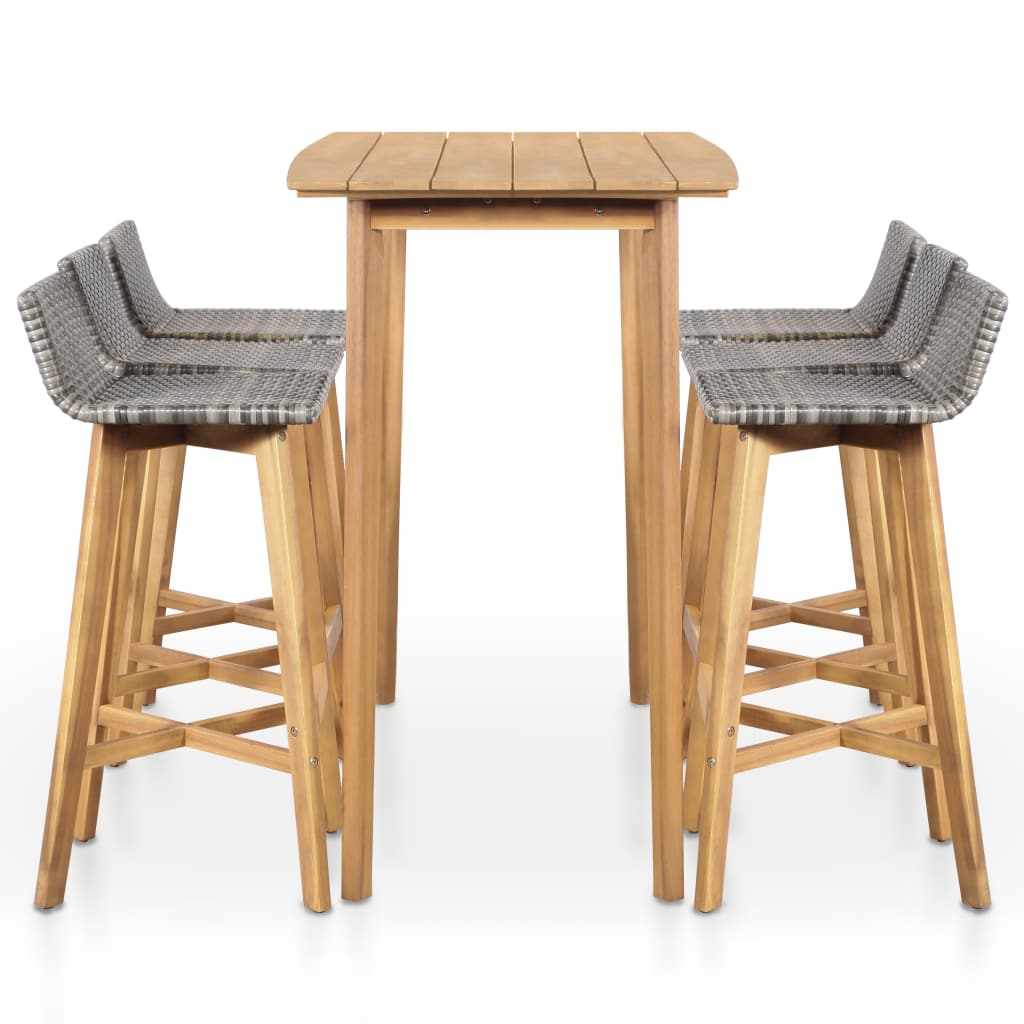 7 Piece Outdoor Dining Set Solid Acacia Wood 3