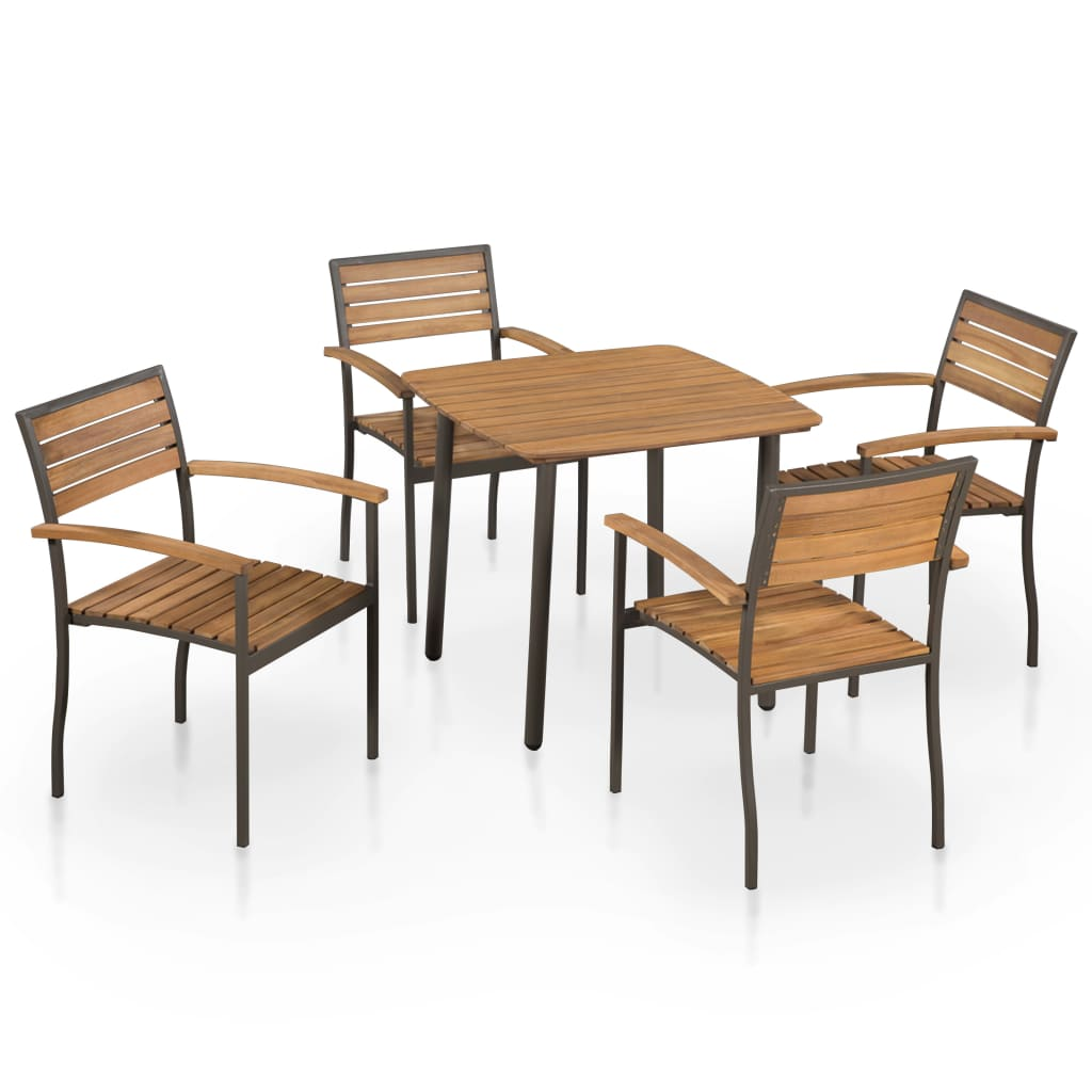 5 Piece Outdoor Dining Set Solid Acacia Wood and Steel 1