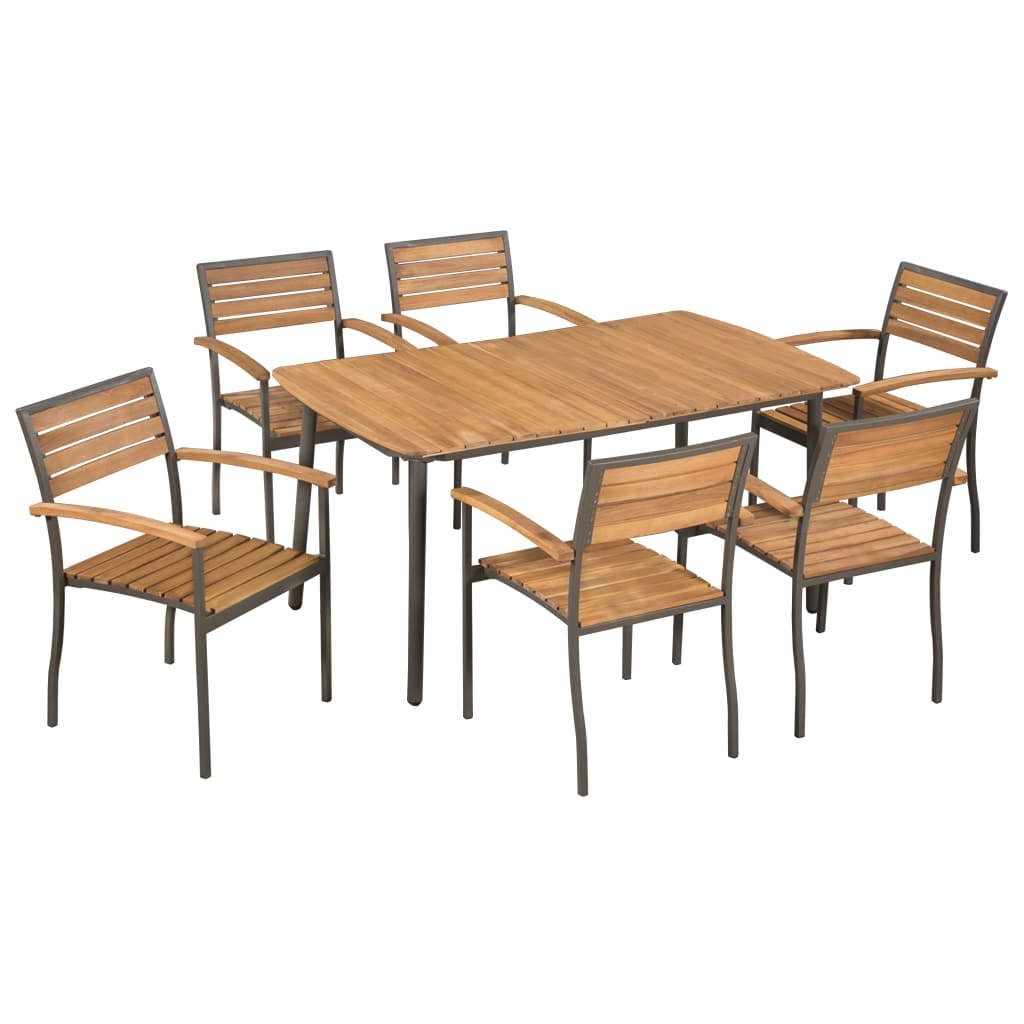 7 Piece Outdoor Dining Set Solid Acacia Wood and Steel 1