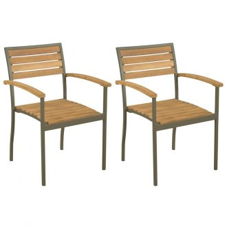 Stackable Outdoor Chairs 2 pcs Solid Acacia Wood and Steel 1