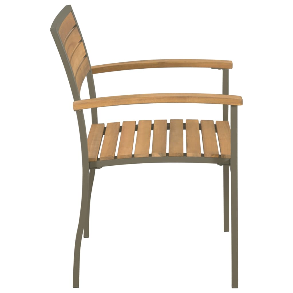 Stackable Outdoor Chairs 2 pcs Solid Acacia Wood and Steel 3