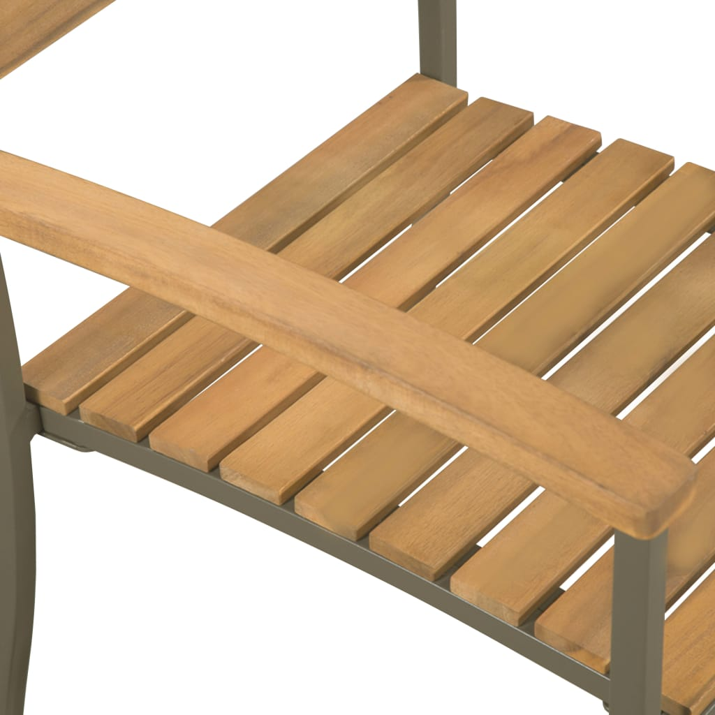 Stackable Outdoor Chairs 2 pcs Solid Acacia Wood and Steel 4