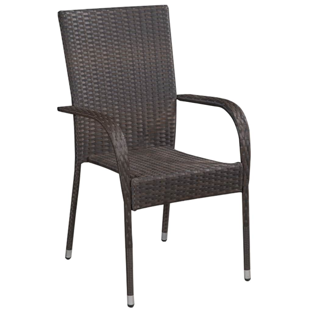 Stackable Outdoor Chairs 2 pcs Poly Rattan Brown 2