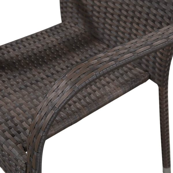 Stackable Outdoor Chairs 2 pcs Poly Rattan Brown 4