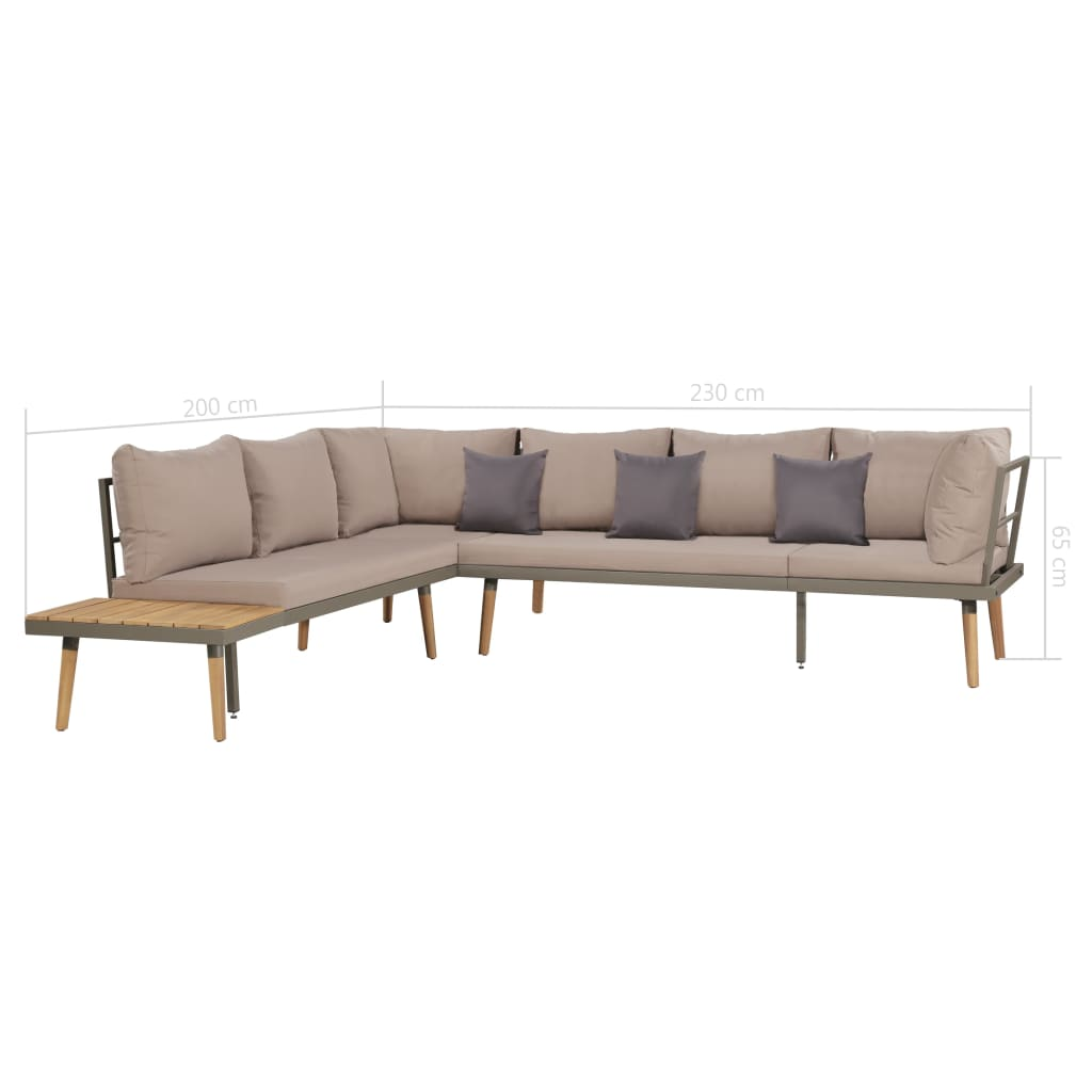 4 Piece Garden Lounge Set with Cushions Solid Acacia Wood Brown 7