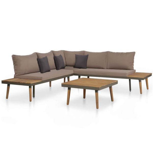 4 Piece Garden Lounge Set with Cushions Solid Acacia Wood Brown 1