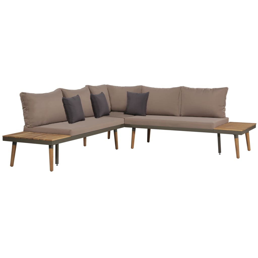 4 Piece Garden Lounge Set with Cushions Solid Acacia Wood Brown 2