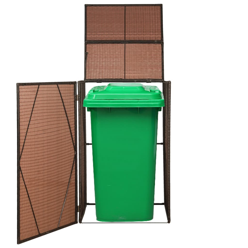 Single Wheelie Bin Shed Poly Rattan 76x78x120 cm Brown 1