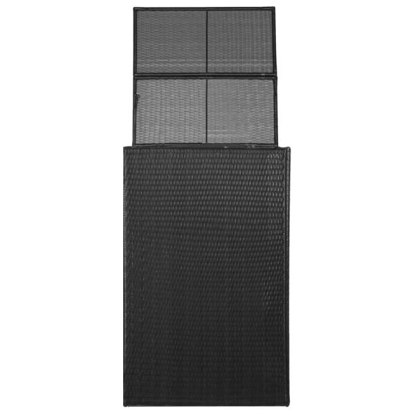 Single Wheelie Bin Shed Poly Rattan 76x78x120 cm Black 2