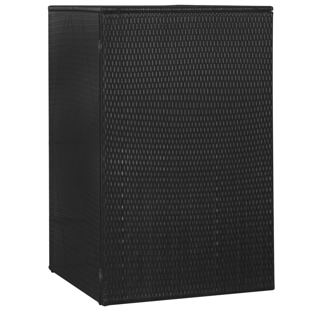 Single Wheelie Bin Shed Poly Rattan 76x78x120 cm Black 3