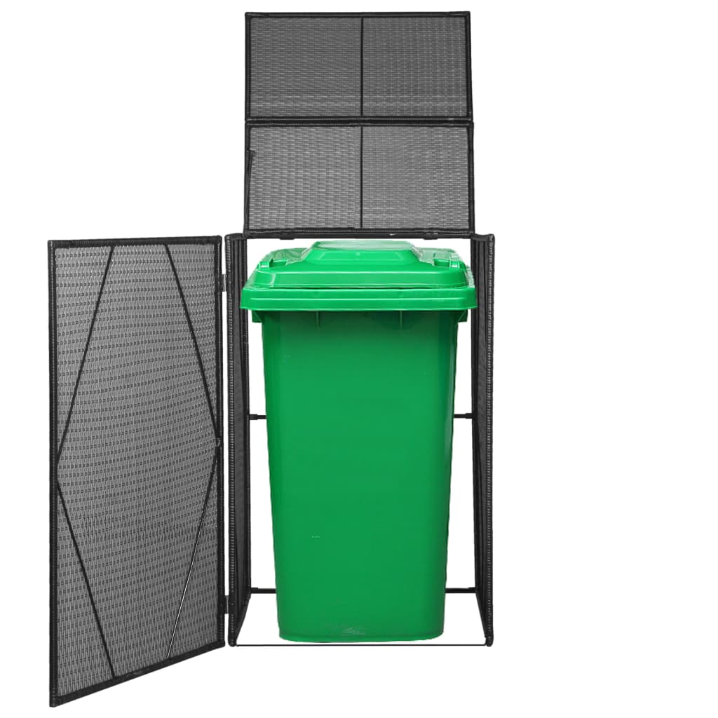 Single Wheelie Bin Shed Poly Rattan 76x78x120 cm Black 1