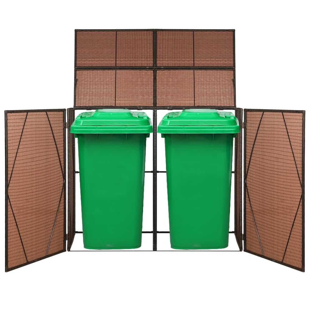 Double Wheelie Bin Shed Poly Rattan 153x78x120 cm Brown