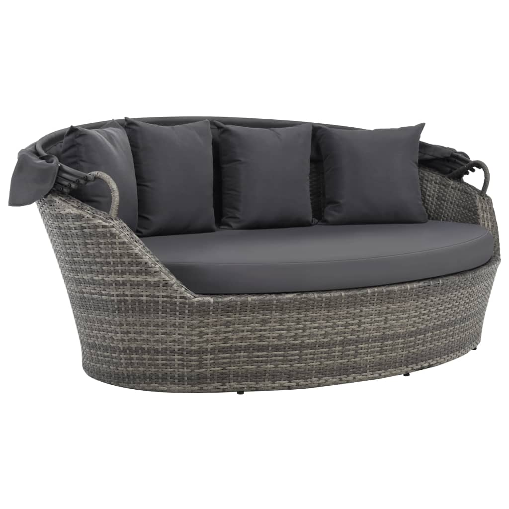 Garden Bed with Canopy Grey 200×120 cm Poly Rattan 4