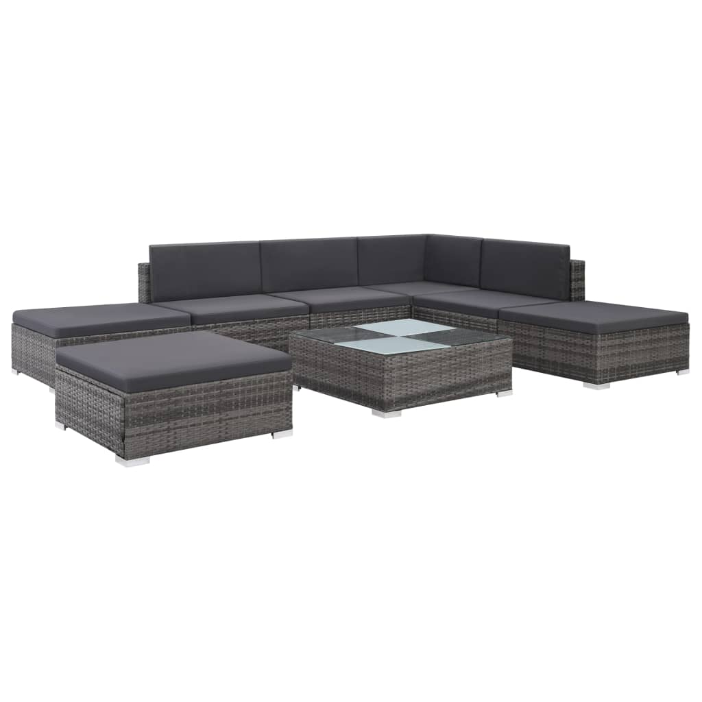 8 Piece Garden Lounge Set with Cushions Poly Rattan Grey 1