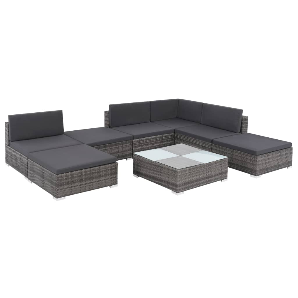 8 Piece Garden Lounge Set with Cushions Poly Rattan Grey 2