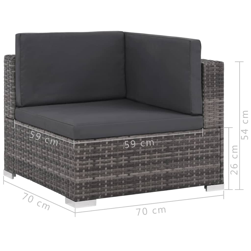 8 Piece Garden Lounge Set with Cushions Poly Rattan Grey 11