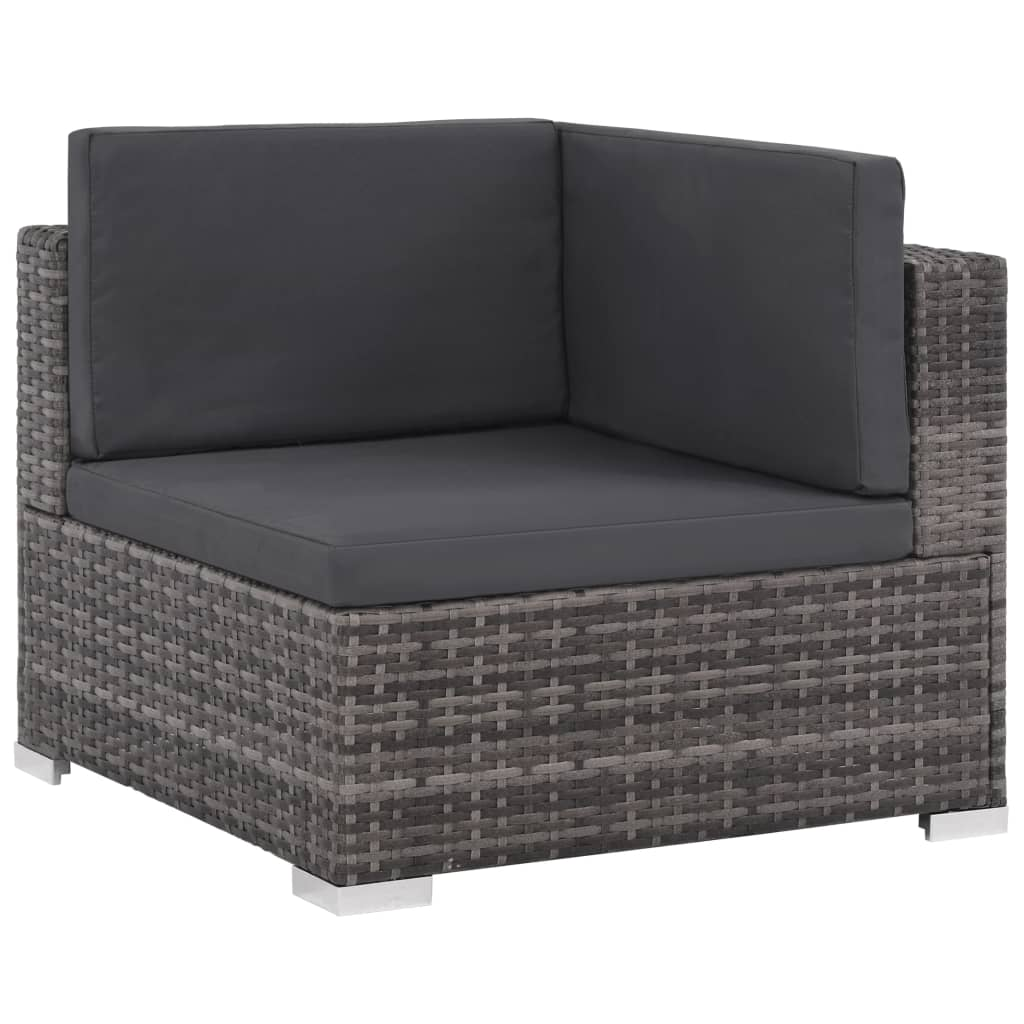 8 Piece Garden Lounge Set with Cushions Poly Rattan Grey 5
