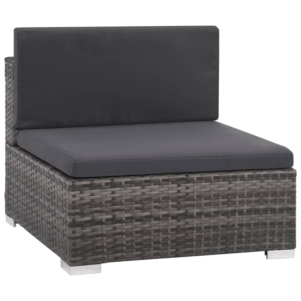 8 Piece Garden Lounge Set with Cushions Poly Rattan Grey 7