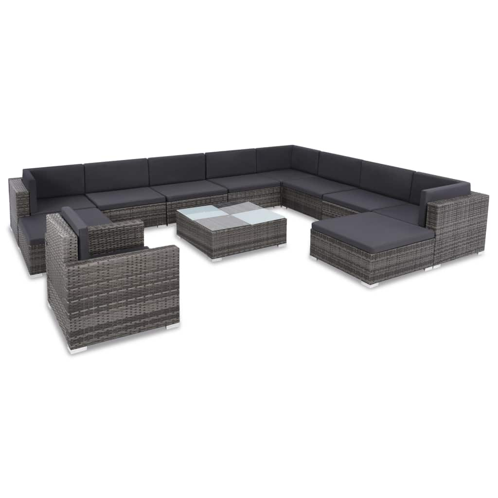 12 Piece Garden Lounge Set with Cushions Poly Rattan Grey 1