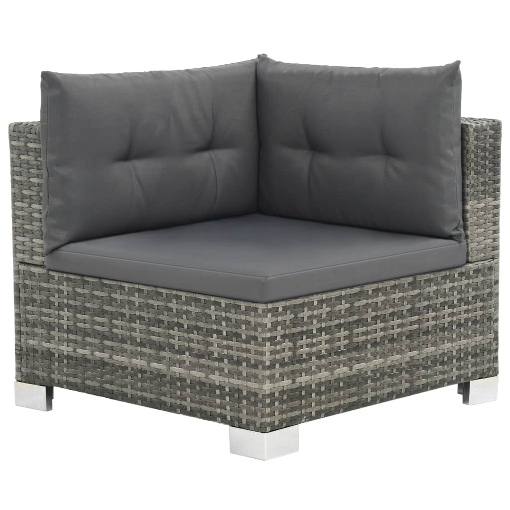 10 Piece Garden Lounge Set with Cushions Poly Rattan Grey 2