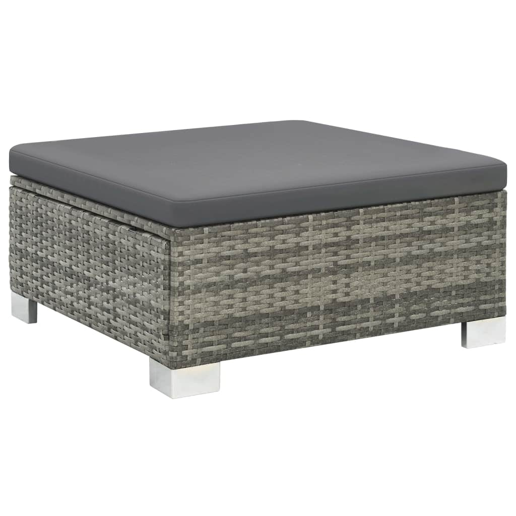 10 Piece Garden Lounge Set with Cushions Poly Rattan Grey 4