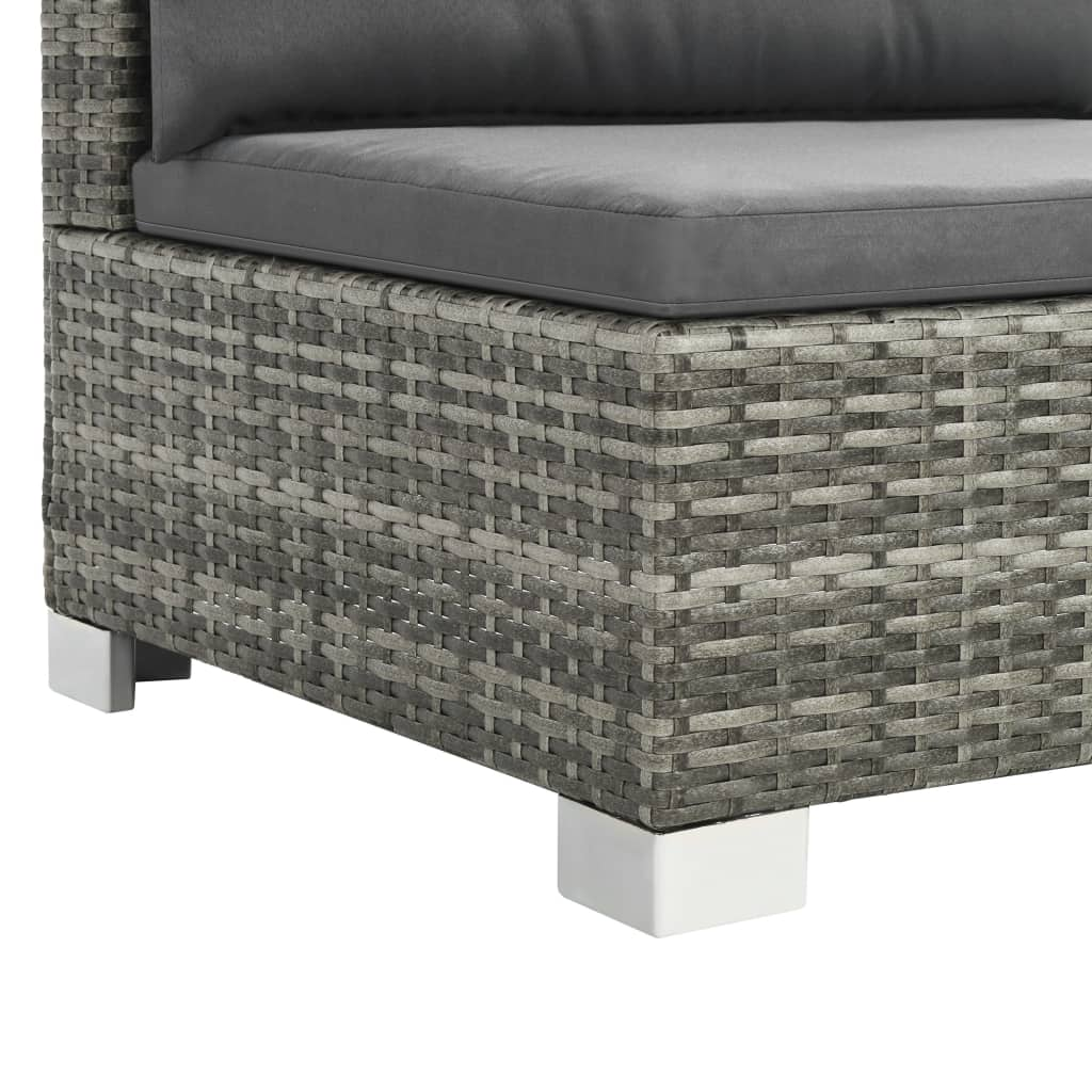 10 Piece Garden Lounge Set with Cushions Poly Rattan Grey 5