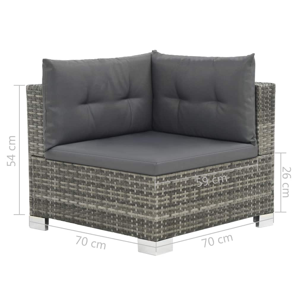 10 Piece Garden Lounge Set with Cushions Poly Rattan Grey 7