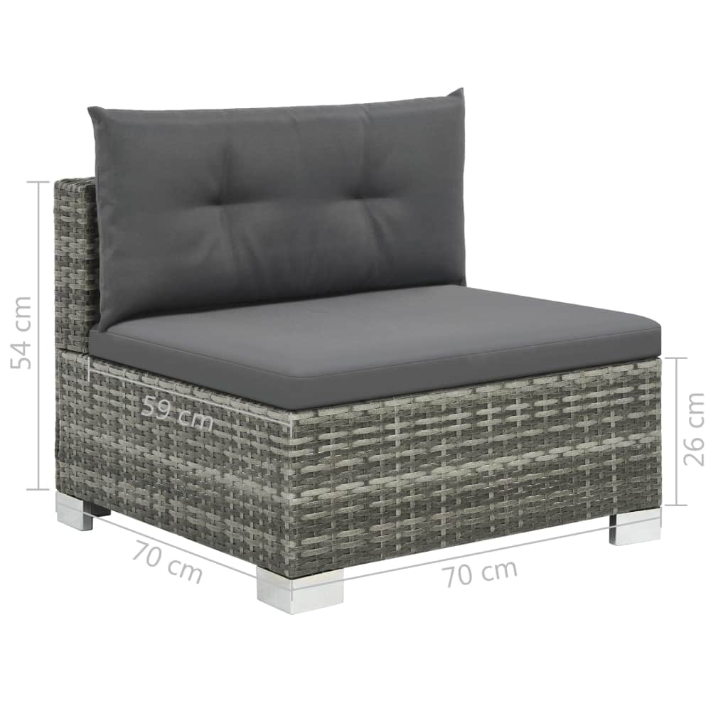 10 Piece Garden Lounge Set with Cushions Poly Rattan Grey 8