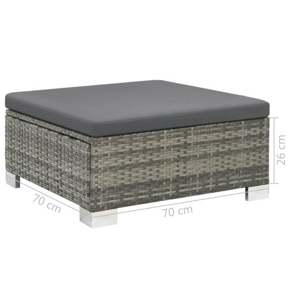 10 Piece Garden Lounge Set with Cushions Poly Rattan Grey 9