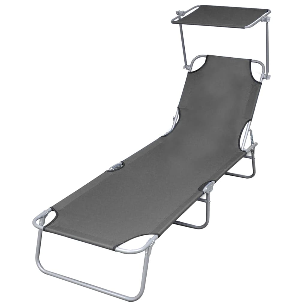 Folding Sun Lounger with Canopy Steel Grey 1
