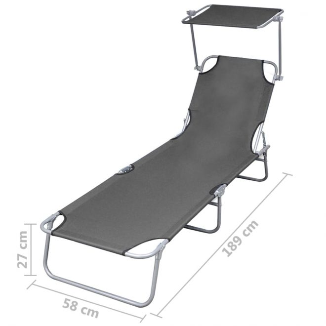 Folding Sun Lounger with Canopy Steel Grey 7