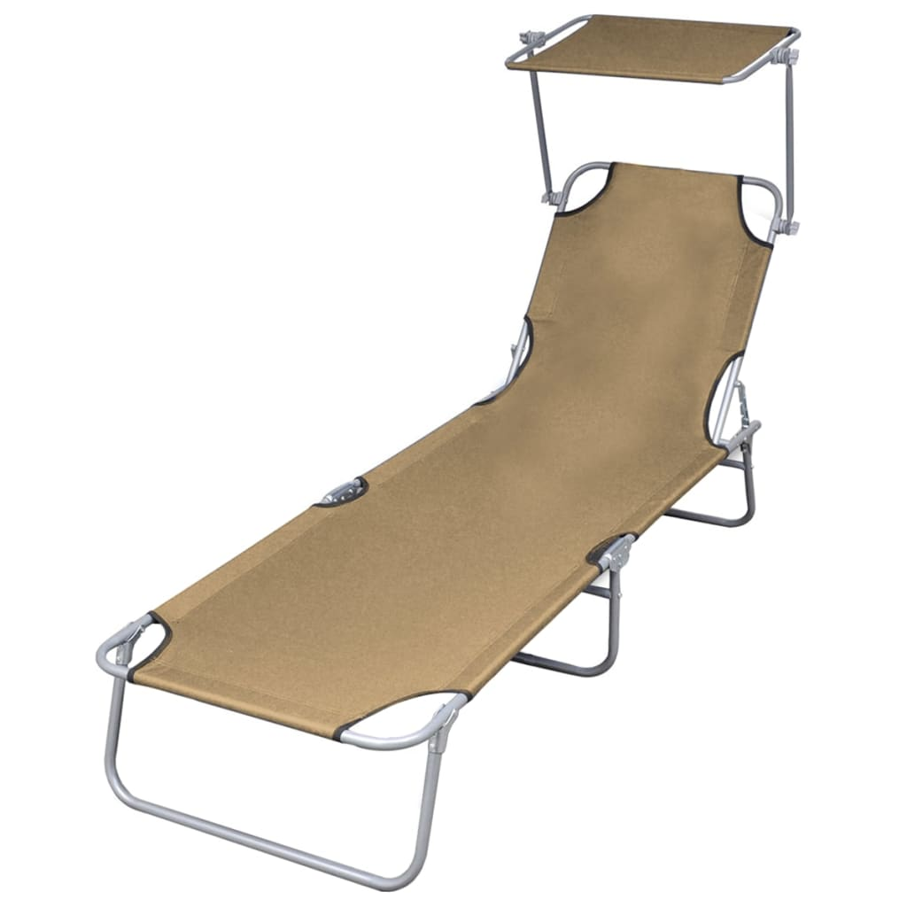 Folding Sun Lounger with Canopy Steel Taupe 1