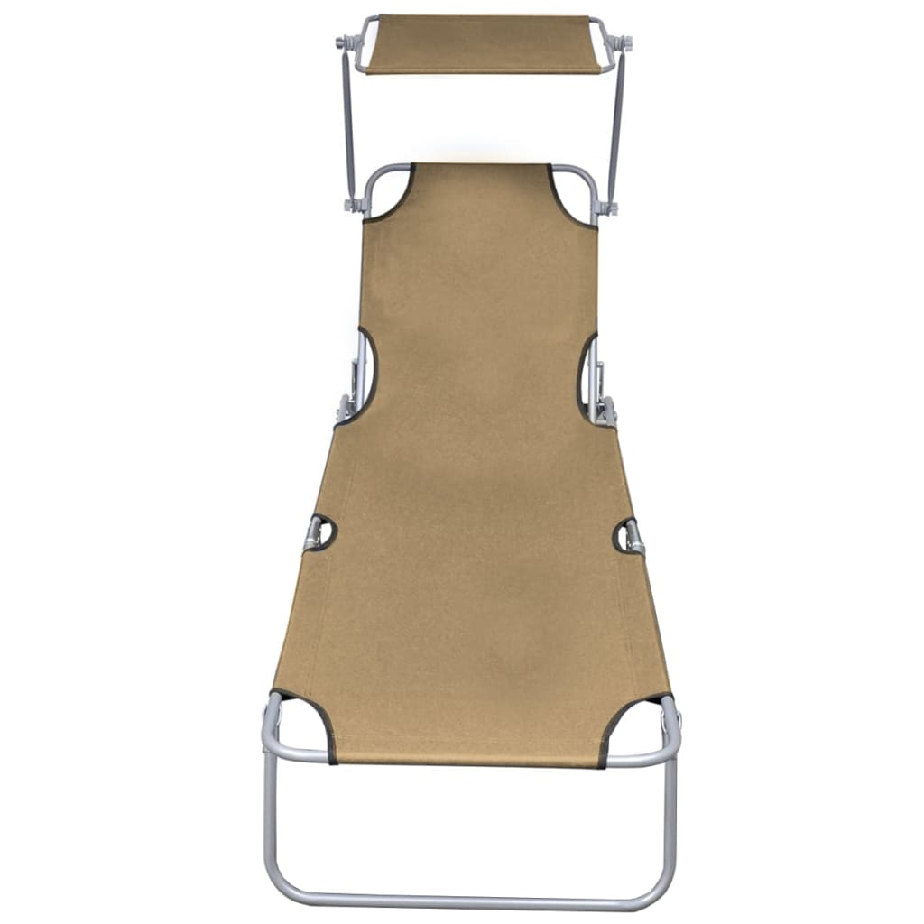 Folding Sun Lounger with Canopy Steel Taupe 2