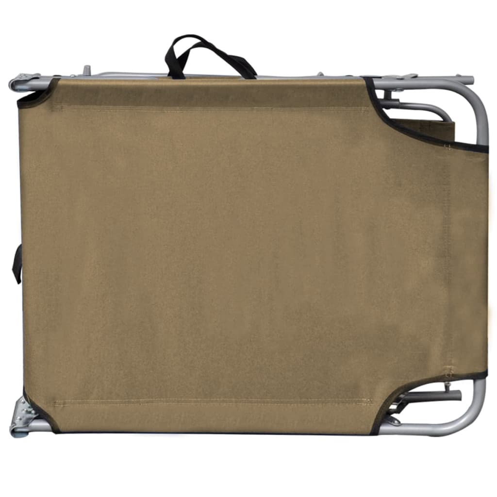 Folding Sun Lounger with Canopy Steel Taupe 4