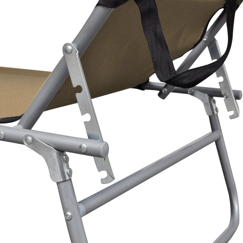 Folding Sun Lounger with Canopy Steel Taupe 6