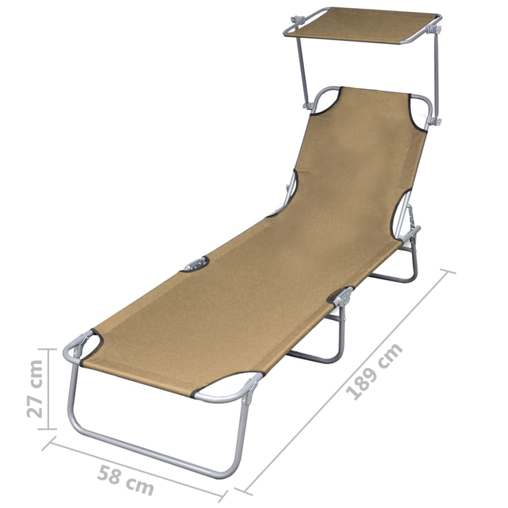 Folding Sun Lounger with Canopy Steel Taupe 7