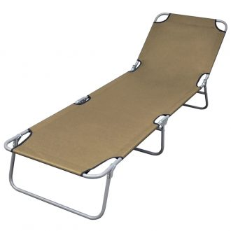 Foldable Sunlounger with Adjustable Backrest Taupe 1