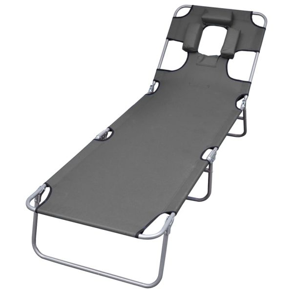Foldable Sunlounger with Head Cushion Adjustable Backrest Grey 1
