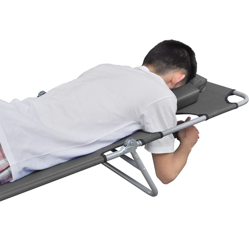 Foldable Sunlounger with Head Cushion Adjustable Backrest Grey 2