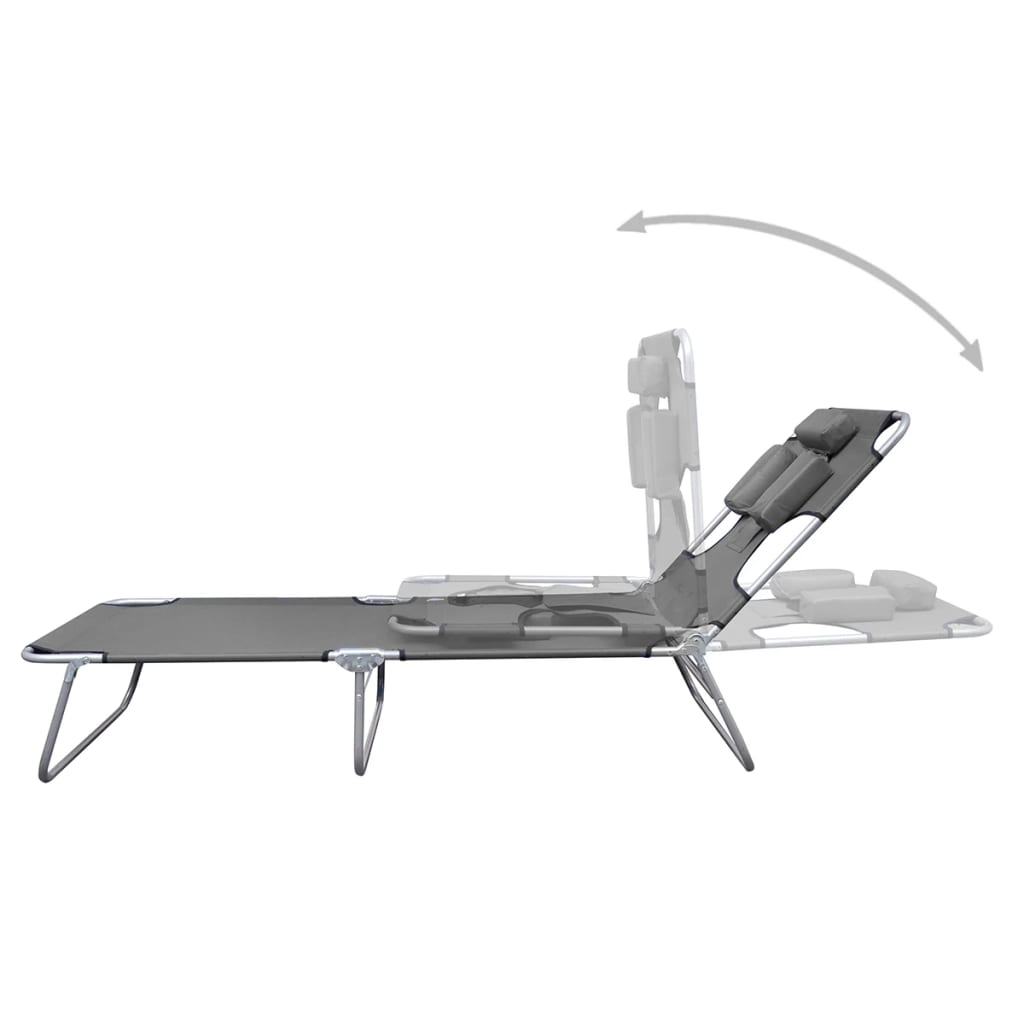Foldable Sunlounger with Head Cushion Adjustable Backrest Grey 3