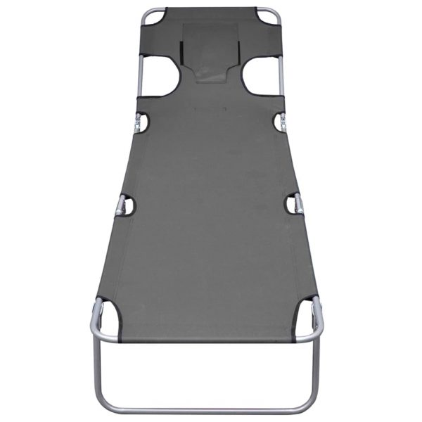 Foldable Sunlounger with Head Cushion Adjustable Backrest Grey 4