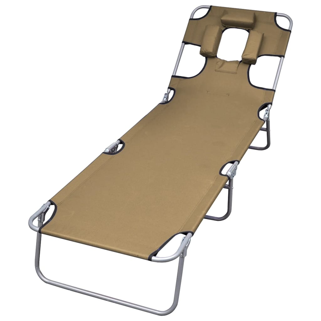 Foldable Sunlounger with Head Cushion Adjustable Backrest Taupe