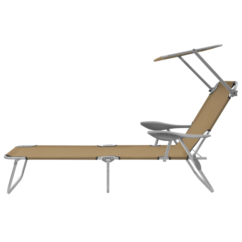 Folding Sun Lounger with Canopy Steel Taupe 3