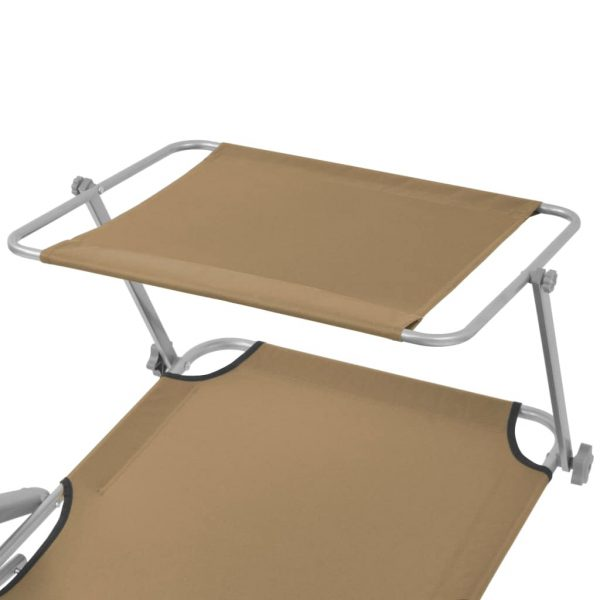 Folding Sun Lounger with Canopy Steel Taupe 5