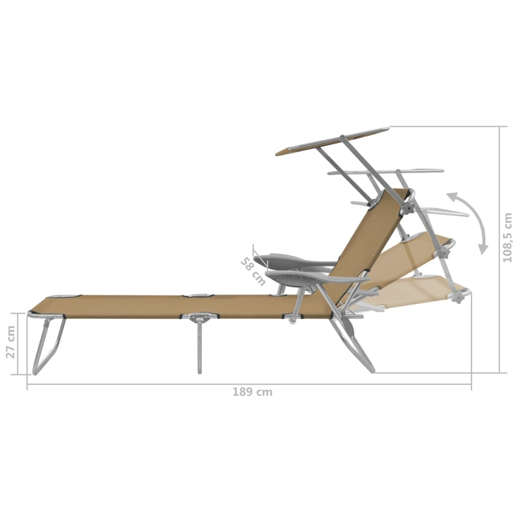 Folding Sun Lounger with Canopy Steel Taupe 8