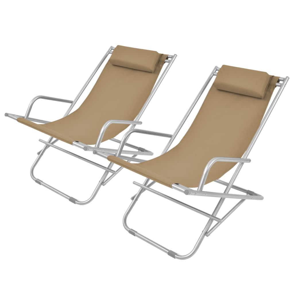 Reclining Deck Chairs 2 pcs Steel Taupe 1
