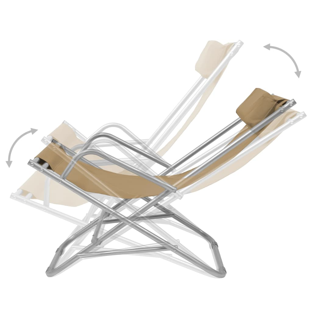 Reclining Deck Chairs 2 pcs Steel Taupe 2