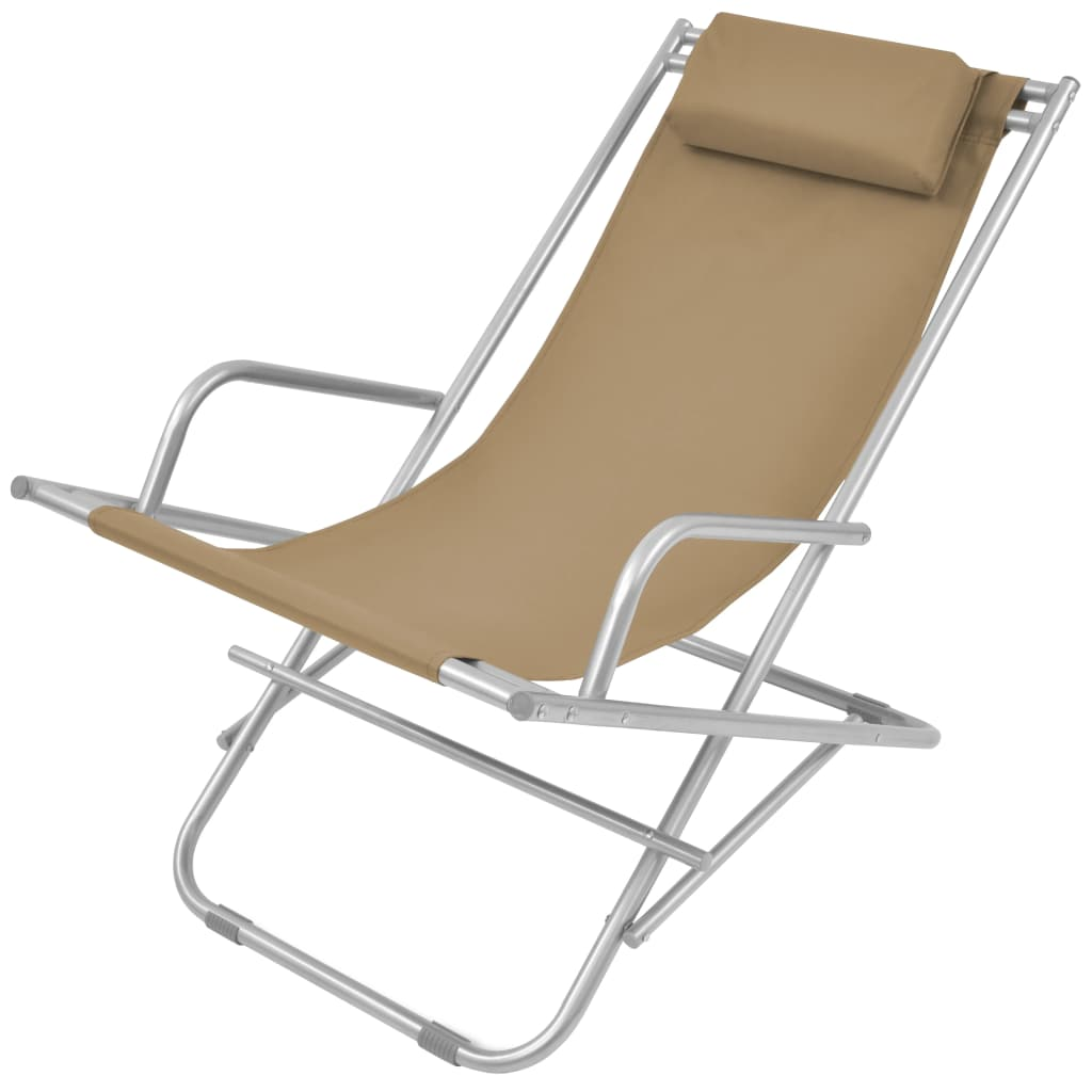 Reclining Deck Chairs 2 pcs Steel Taupe 3