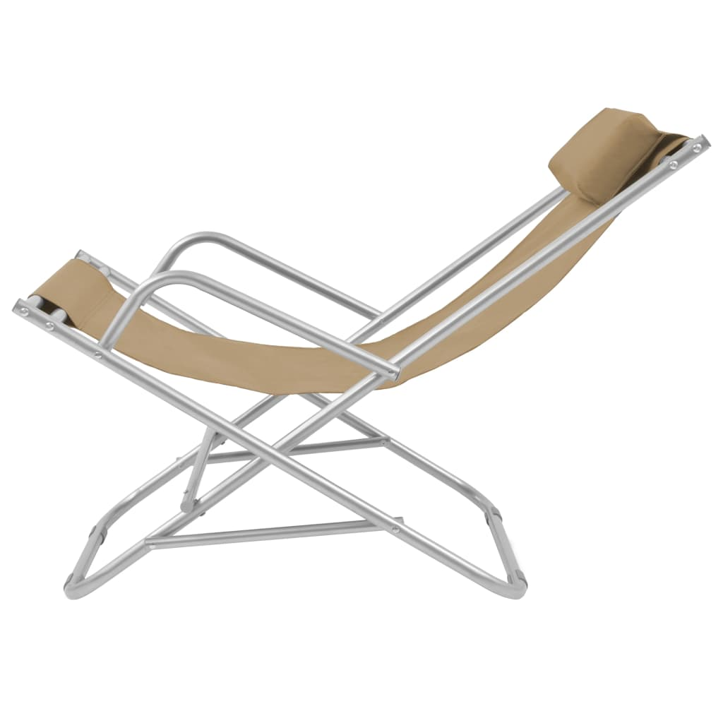 Reclining Deck Chairs 2 pcs Steel Taupe 4